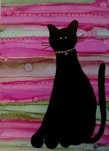 ACEO Art Print black CAT pink stripes 2.5x3.5 by Lynne Kohler