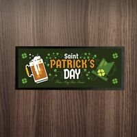 Personalised St Patrick's Day Beer & Green Lucky Hat Design Bar Runner Pub