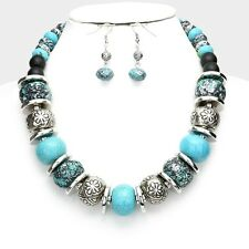 Turquoise Stone Patina Style Bead Silver Tone Bead Chunky Necklace Earring Set