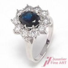 Ring mit Saphir & 10 Brillanten ca. 1 ct TW-SI in  750/18K Weißgold - 5,1 g