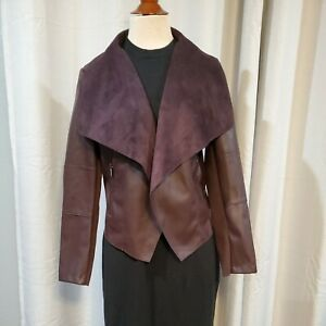 BAGATELLE Burgundy Wine Faux Leather Open Front Draped Jacket NWT size M