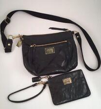 COACH Poppy Crossbody Purse Small & Matching Wristlet, Black Leather Handbag