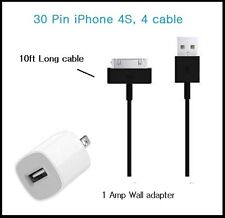 10 Ft Long 30 Pin USB Power cable Cord for iPhone 4s, 4,3 + Wall Charger (Black)
