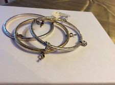 Lucky Brand Silver-Tone Lock & Key 3 Bangle Bracelets $35 #116a