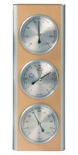 Hokco Weather Station Barometer Thermometer Hygrometer Aluminum Beech Wood