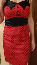 Neu Vintage Kleid Retro Pencil Bodycon Tanz Pinup Dots Punkte Rockabilly S rot