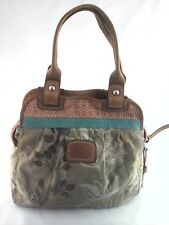 FOSSIL Purse Floral Canvas w Leather Trim Shoulder Bag Beach Tote Boho $138