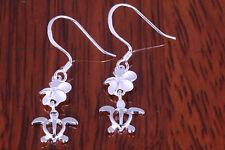 Turtle Plumeria Cz Earring 925 Sterling Silver Dangle