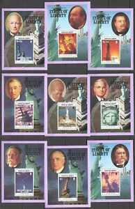 NW0173 BRITISH VIRGIN ISLANDS STATUE OF LIBERTY USA PRESIDENTS KENNEDY 9BL MNH