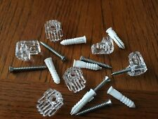 """6 x Clear Mirror Wall Mounting Clip Bracket 1/4 """" thick + screws + wall anchors"""