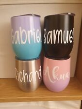 Personalised Large 12oz Stainless Steel Stemless Wine Tumbler Insulated & Lid