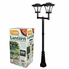 Kingfisher Solar Twin Head Victorian Lamp Post Light Lantern Bollard Garden