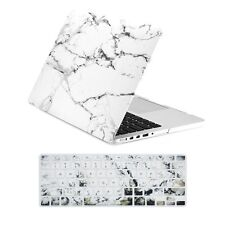 """MARBLE WHITE Matte Hard Case + Keyboard cover for Macbook Pro 15"""" Retina A1398"""