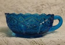 Vintage Blue Cut Glass Candy/Nut Dish    (#293)
