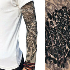 Skulls Halloween Slip on Nylon Elastic Stocking  Arm Temporary Tattoo Sleeves
