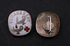 Hungary Hungarian Badge Red Cross Blood Donor pin brass Donation Vintage