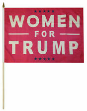 "Wholesale Lot of 3 Women For Trump Pink 8x12 8""x12"" Stick Flags Wooden Staff"