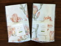 Pottery Barn Set Of 2 Magnolia Pillow Shams King Size Floral Organic Cotton NEW