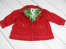 """""""Baby Gap"""" Girls Red Button Down Jacket Size 12-18 Months - A1147"""