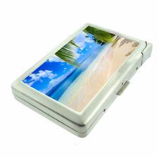 Fiji Islands D6 Cigarette Case with Built in Lighter Metal Wallet Tropical