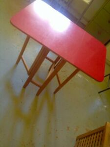 Genuine 1950's gate leg raspberry red formica folding kitchen table