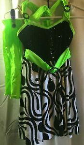 COSTUME GALLERY DANCE COSTUME LARGE CHILD DRESS BLACK/GREEN WITH HEADBAND