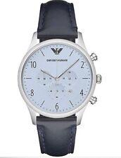 Emporio Armani Mens Silver/Light Blue Chrono Dial Navy Blue Band Watch AR1889