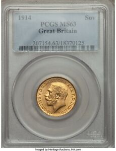 Great Britain: George V gold Sovereign 1914 MS63 PCGS