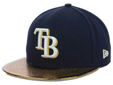 Tampa Bay Rays MLB Metallic Gold Slither New Era Flat Bill Fitted Hat Cap Lid TB