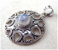 925 Sterling Silver BLUE FIRE RAINBOW MOONSTONE Gemstone Pendant ~ BFMP2443