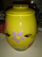 Vintage Bartlett Collins cookie jar painted yellow with flowers and fruit