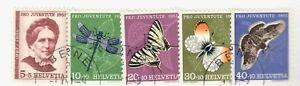 1951 Switzerland SC #B207-211 BUTTERFLIES  Used stamp set