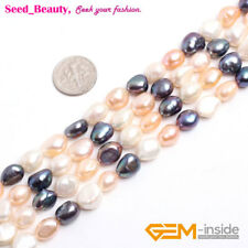 """8-9mm Freshwater Pearl Loose Beads for Jewelry Making Gemstone 15"""" DIY Wholesale"""
