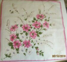 Vintage White Linen Hankie Hand Printed Pink Floral Bouguet Roses Daisies Lily
