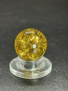 Vitro Crackle Glass Marble BLAZING GOLDEN AMBER Player Size Vintage Marble 0.551