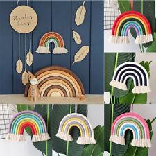 Hand Woven Rainbow Macrame Wall Tapestry Hanging Nursery Cloud 3D Room Decor