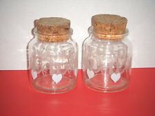 Clear Glass Drug Store / Apothecary / Storage Jars Hearts Birds Cork Lids (2)