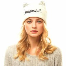 ADORABLE CREAM KITTY CAT KNIT BEANIE HAT WITH RHINESTONE EARS