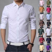 Men's Shirts Long Sleeve Causal Slim Fit Formal Business Dress Shirt Tops