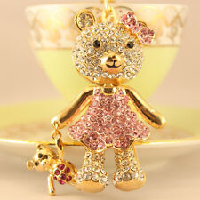 Pink Baby Bear Fashion Keychain Rhinestone Crystal Pet Cute Animal Gift 01132
