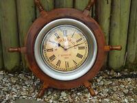 Large Ships wheel Clock 24 Inches across Wheel- maritime Nautical Nice Size