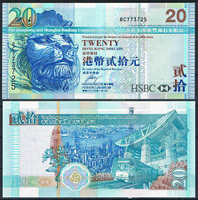 HONG KONG - HSBC  20 DOLARES 2008 Pick 207    SC  UNC
