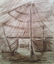 John M. Alfsen (Canadian)  - Circus Tent - Original conte drawing (c1945)