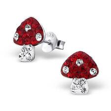 STERLING SILVER & CRYSTAL TOADSTOOL STUD EARRINGS - Red & White Mushroom Boxed
