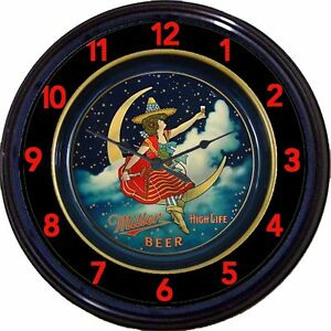 """Miller High Life Beer Tray Wall Clock Milwaukee Moon Girl Ale Man Cave New 10"""""""