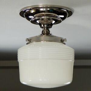 Semi-Flush Ceiling Light Fixture. Vintage Glass Shade. New Fixture Base.