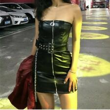 Womens Gothic PU Faux Leather Chain Zip Black Dress Harajuku Y2K