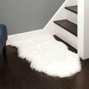 Faux Fur Super Soft Silky Area Rug | Machine Washable & Non-slip Backing