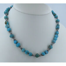 925 Sterling Silver Natural Mixed Matrix Blue Green Turquoise Bead Necklace