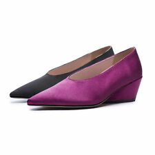 Women's Leather Lining Party Pumps Black/Purple Satin Pointed Wedges Dress Shoes